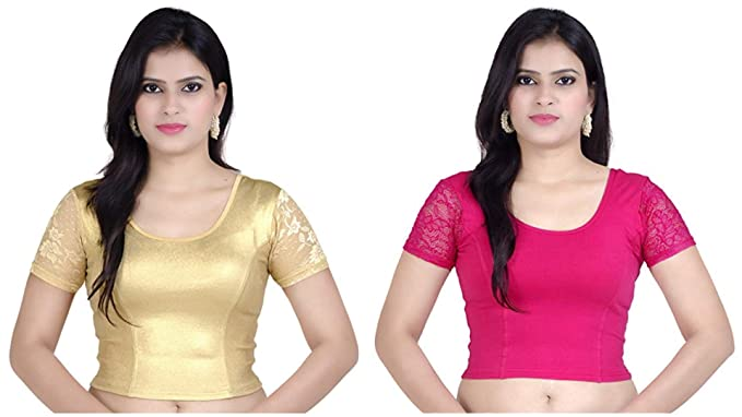 ea0292b494e00 Image Unavailable. Image not available for. Color  Fressia Fabrics Women s  Stretchable Readymade Saree Blouse ...