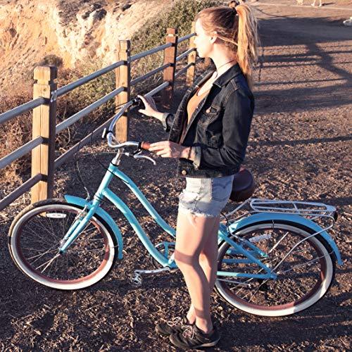 sixthreezero EVRYjourney Women's 7-Speed Step-Through Hybrid Alloy Cruiser Bicycle, Teal w/Brown Seat/Grips, 26 Wheels/ 17.5 Frame