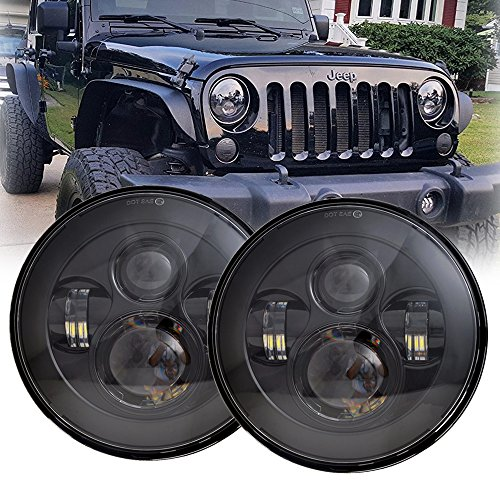 LX-LIGHT 7'' Round Black Cree LED Headlight High Low Beam for Jeep Wrangler JK TJ LJ CJ Hummber H1 H2 (Pair)