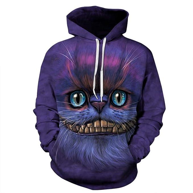 ZXMWY Gato 3D Print Hoody Dibujos Animados Gato Hoodies Mujeres/Hombres Ropa Deportiva Sweater Suits Harajuku Hoodies: Amazon.es: Ropa y accesorios