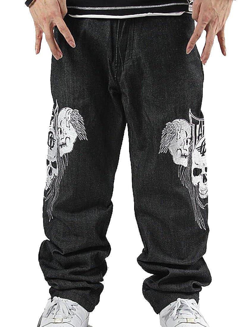 Tasatific Men's Hip-hop Embroidered Printed Baggy Denim Jeans