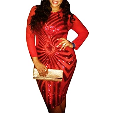Amazon Sexy Red Plus Size Bodycon Dress Women Sequin Geometric