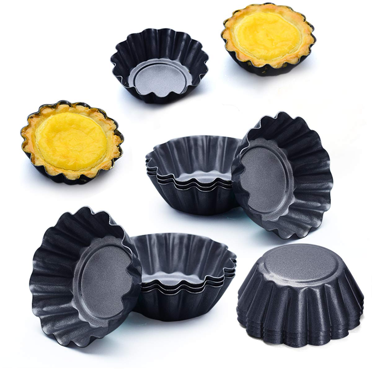 "Amytalk 12 Packs Egg Tart Mold, Cupcake Cake Muffin Molds Tin Pan Baking Tool, Size 2.6""x 0.9"", Carbon Steel"