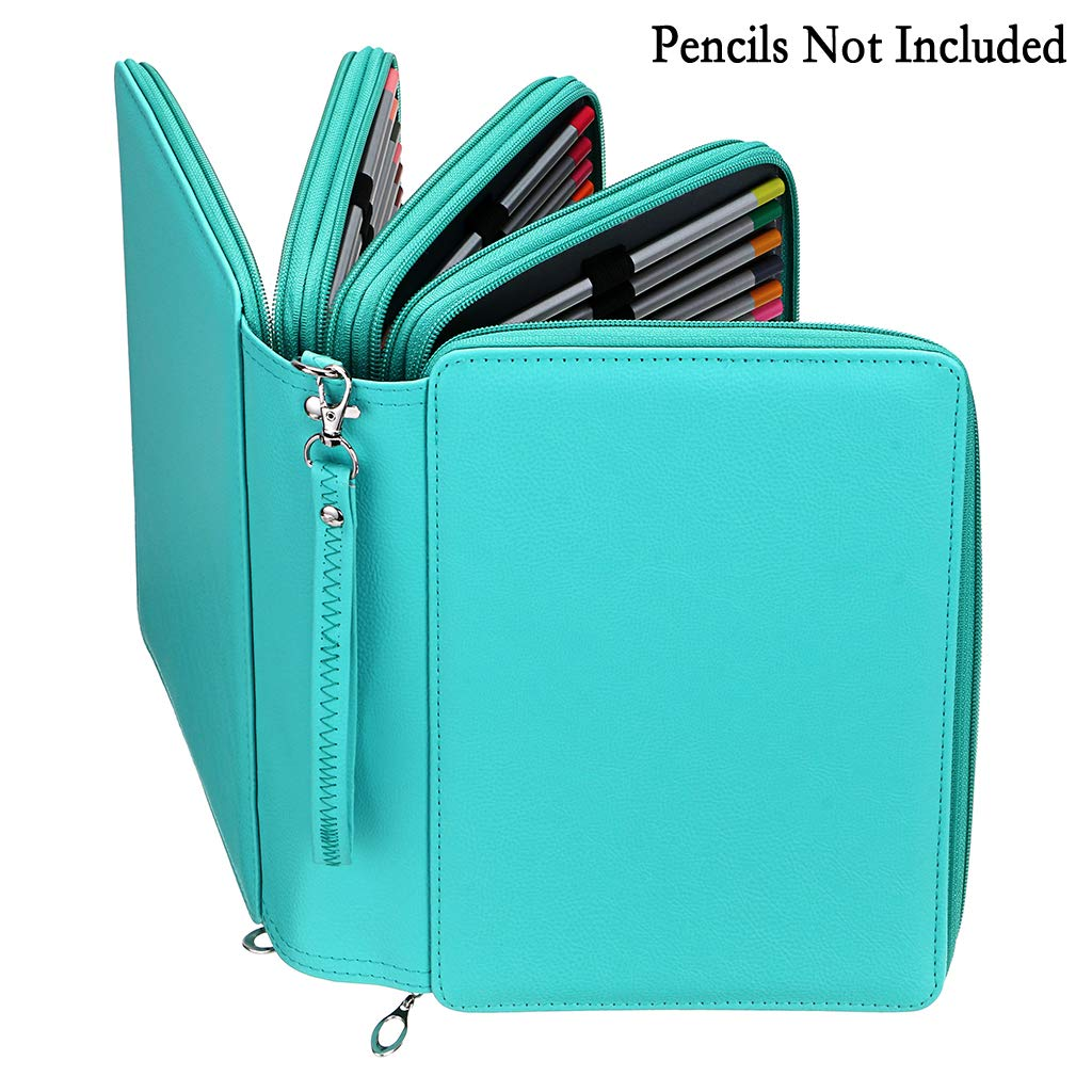 BTSKY 200 Slots Colored Pencil Organizer Black Deluxe PU Leather Pencil Case Holder With Removal Handle Strap Pencil Box Large for Colored Pencils Watercolor Pencils
