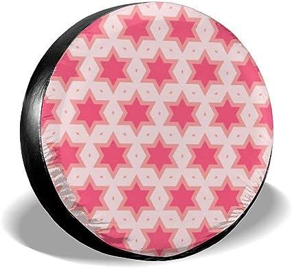 Vbnbvn Reserveradabdeckung Pink Hexagonal Hexagonal Star Mosaic Tire Cover Polyester Universal Vehicle Accessories Auto