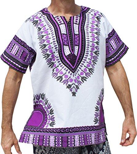 RaanPahMuang Brand Unisex Bright White Cotton Africa Dashiki Shirt Plain Front, Medium, White Purple by Raan Pah Muang