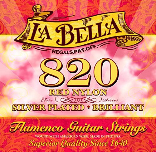 LaBella 820 Red Classical Guitar Nylon Strings, Flamenco Sets - Medium Tension - Silver-Plated Wound Basses - Designed for Flamenco ()