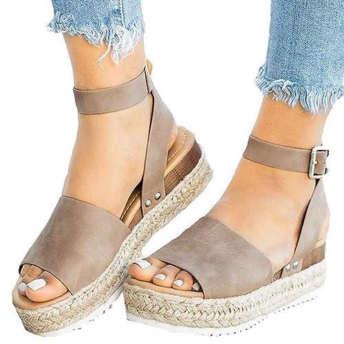 8e0ac1fea0d Athlefit Women's Platform Sandals Espadrille Wedge Ankle Strap Studded Open  Toe Sandals Size 5.5 Khaki