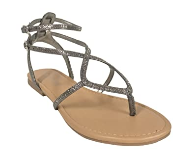 8a381929ced City Classified Grammer! Women s Rhinestone Embellished Shimmer Strappy  Thong Ankle Strap Buckle Flat Sandals