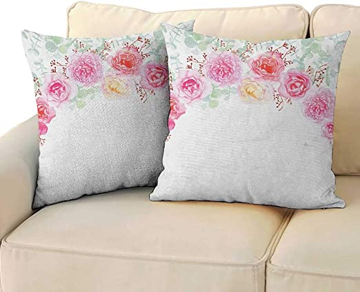 """18/"""" Shabby Chic Floral 100/% Cotton Satin Throw Pillow Case Cushion Cover"""