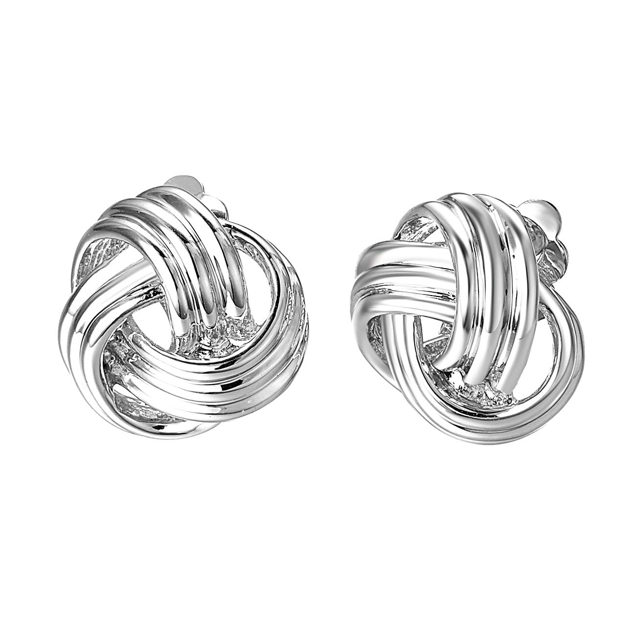 VOGEM Silver Clip On Earrings For Womens 18K Gold Plated Wrap Twisted Big Knot Earrings Non Pierced Jewellery