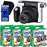 HeroFiber Fujifilm INSTAX 300 Wide-Format Instant Photo Film Camera (Black/Silver) + Fujifilm instax Wide Instant Film (80 sheets) Ultra Gentle Cleaning Cloth