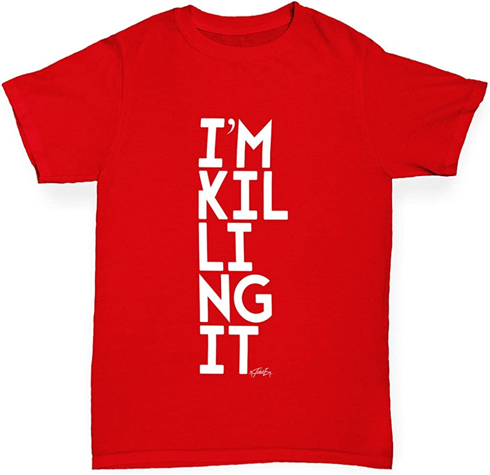TWISTED ENVY Boys Im Killing It Cotton T-Shirt Comfortable and Soft Classic Tee with Unique Design Age 12-14 Red