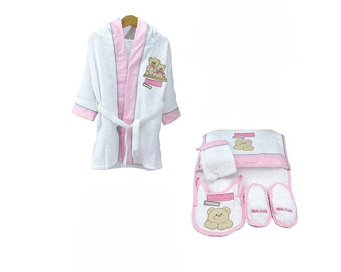 Albornoz Rizo Bears con bebé niña Toalla Guantes manopla y babero 1777bpb material 100% algodón