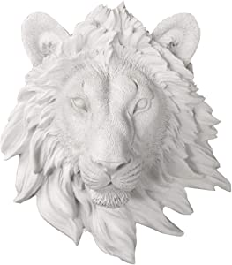 "Wall CHARMERS Mini White Faux Lion Head Wall Hanging - 9"" White Faux Taxidermy Animal Head Wall Decor - Handmade Farmhouse Decor"