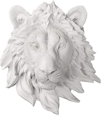 Faux Head Bust Mounted Decorative Fauxidermy Decor Art Fake Resin Animal Mount Taxidermy Decor Wall Charmers Lion Mini in White