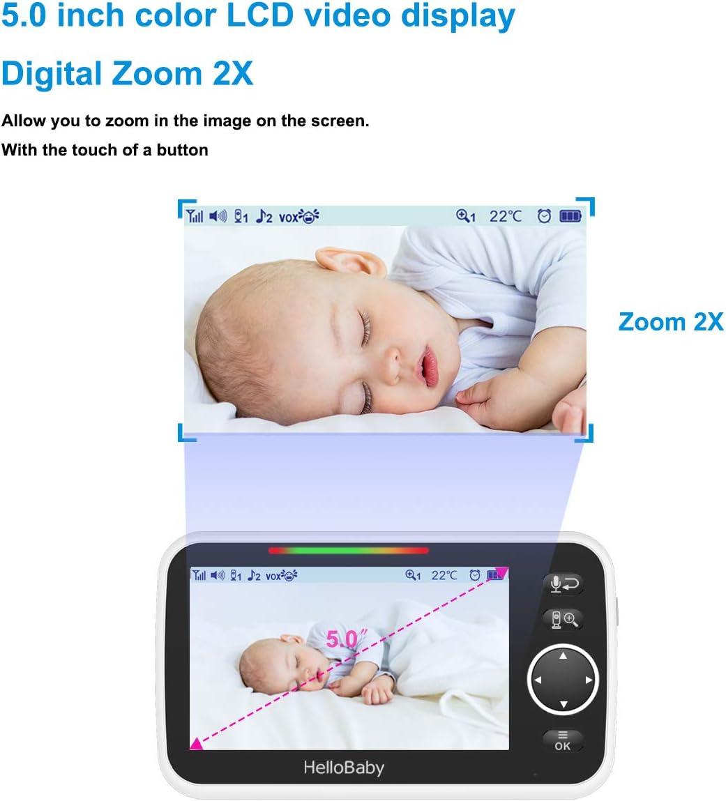 HelloBaby Video Baby Monitor con Pantalla LCD en Color de 5  HB50 C/ámara Infrarroja de Visi/ón Nocturna Pantalla de Temperatura Canci/ón de Cuna Audio Bidireccional y Modo VOX