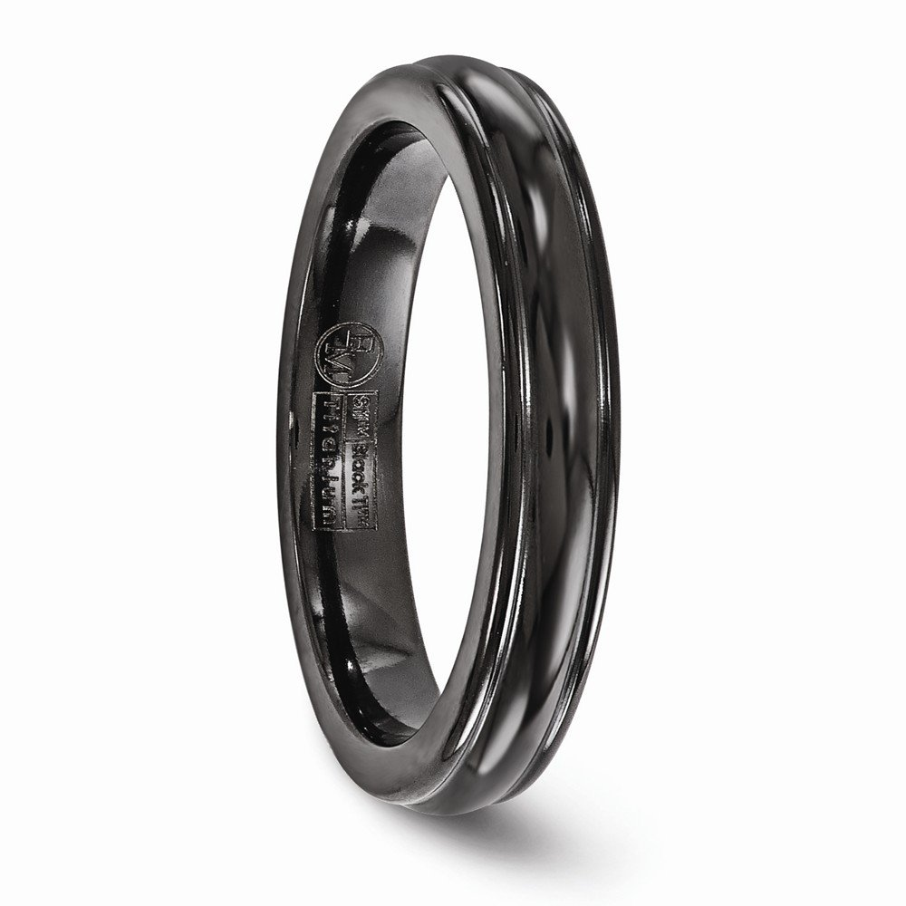 Bridal Wedding Bands Decorative Bands Edward Mirell Titanium Black Ti Triple Domed 4mm Band Size 7.5