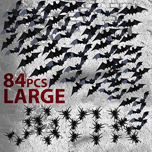 JOYIN 84 Assorted Halloween DIY Scary Wall Bats Spiders Wall Decal Wall Stickers PVC 3D Halloween Eve Decoration (include 90 Double-Sided