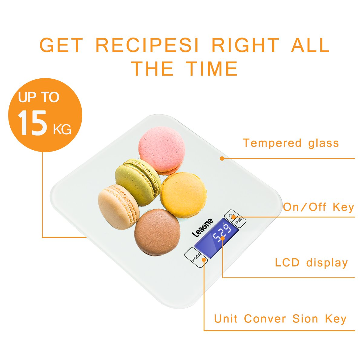 Digital Kitchen Scales, Naisidier Liquid Measuring Scales, Electronic Cooking Food Scale with Back -Lit LCD Display for Home, Kitchen