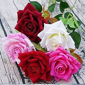 10pcs Artificial Velvet Roses Flower Single Stem Rose Flowers for Wedding Home Party Decorative Flower 79