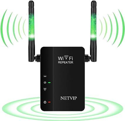 NETVIP WiFi Repetidor de Red Extensor 300Mbps Repetidor Mini Wireless Amplificador Extensor de Rango Inalámbrico Modo Punto de Acceso/Repetidor ...