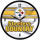 Wincraft NFL 2519591 Pittsburgh Steelers Round Wall Clock, 12.75-Inch