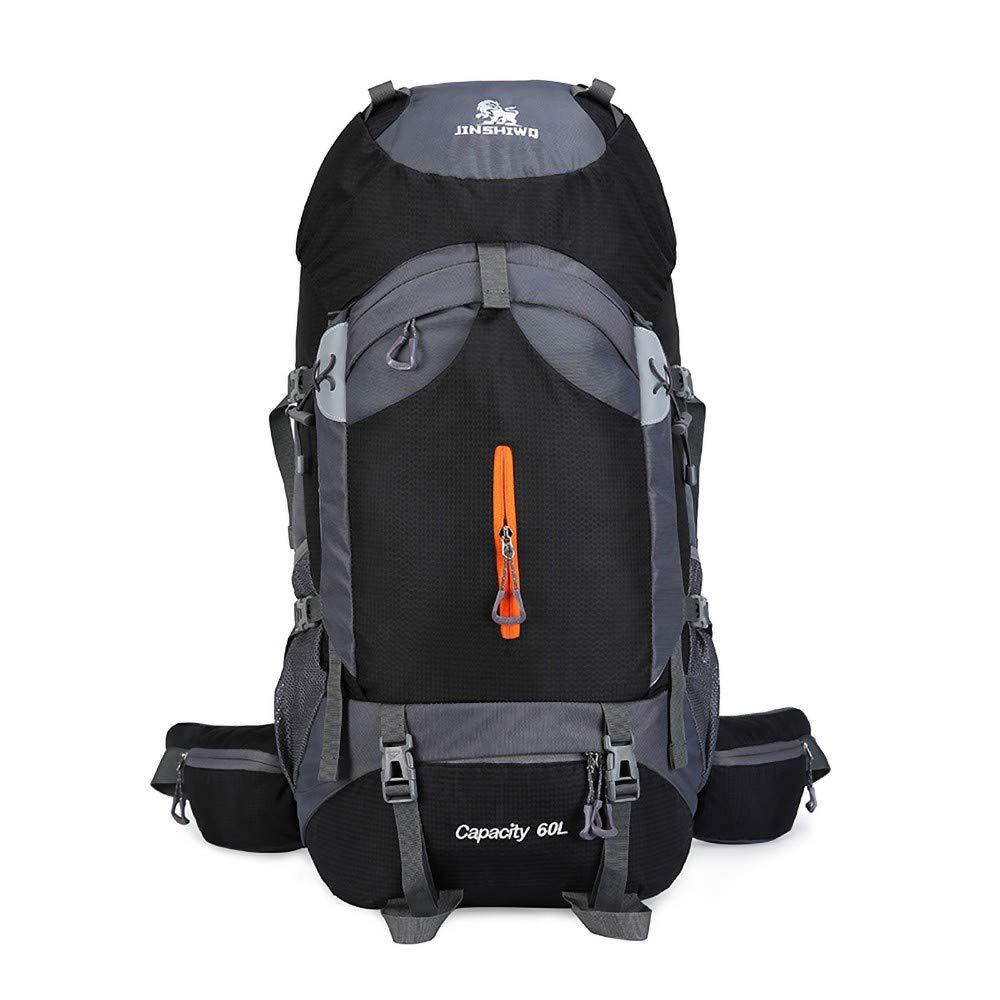 Black Hiking Bag, Outdoor Sports Backpack, Multi-Function Mountaineering Bag Waterproof Backpack 60L Men and Women Large Capacity Leisure Travel Bag