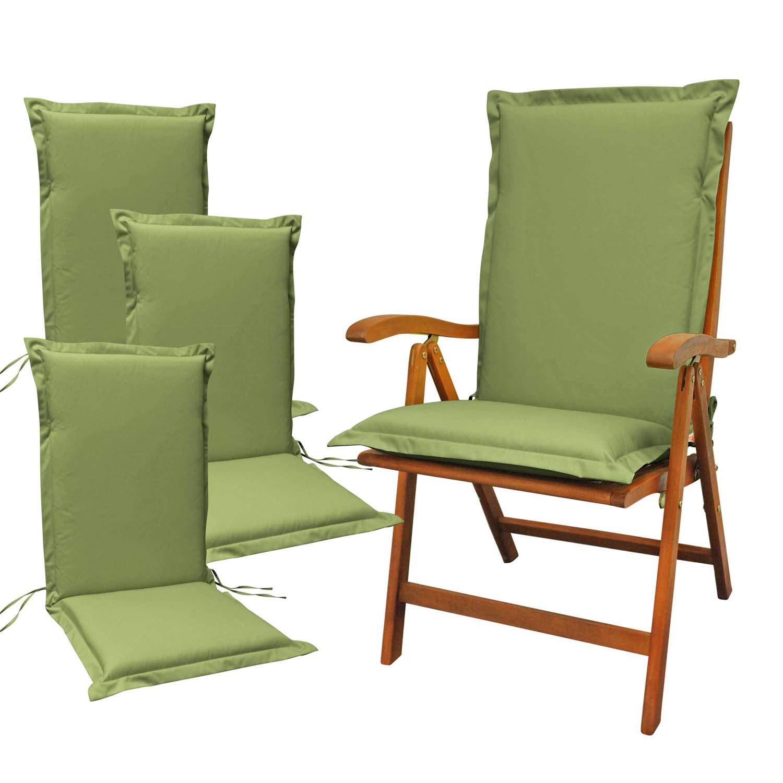 Indoba 4 x Sitzauflage Hochlehner Premium Polsterauflagen Grün