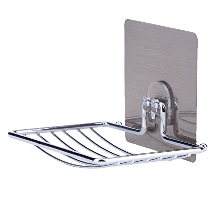 Amazoncom LAUNGDA Soap Dish Adhesive Soap Holder Chrome Soap Dish - Ceramic soap dish adhesive