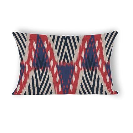 Awe Inspiring Amazon Com Red And Blue Ikat Pattern Geometric Rectangle Ibusinesslaw Wood Chair Design Ideas Ibusinesslaworg