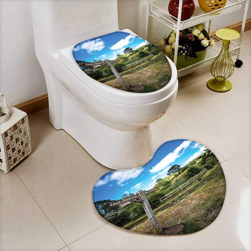 2 Piece Anti-Slip Toilet mat Wooden Sign in Hobbit Land East West Farthing Movie Set New Zealand The Anti-Slip Water Absorption