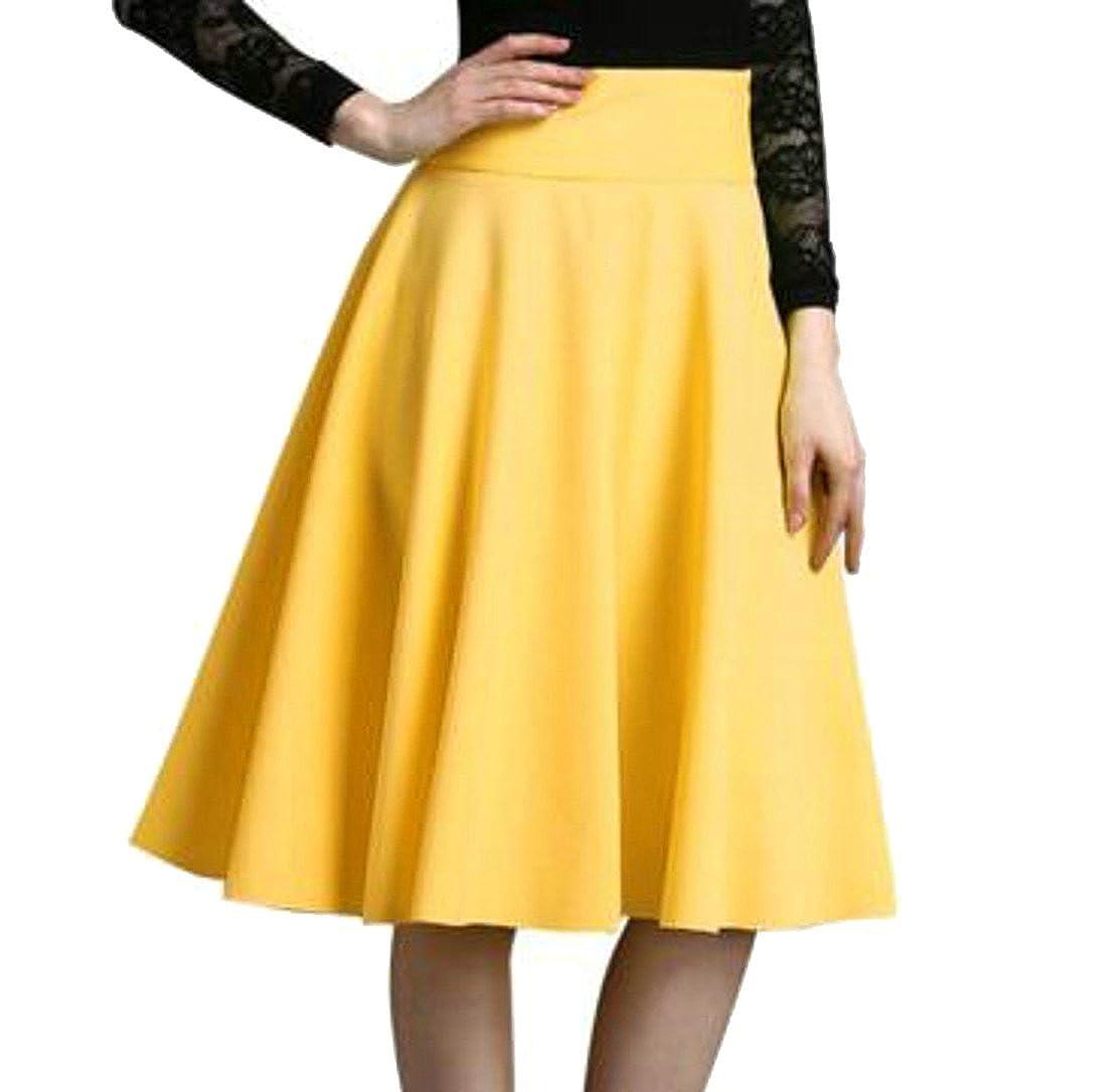 Pluszing Faldas de Tiro Alto, Lisas, Acampanadas, básicas, línea A ...