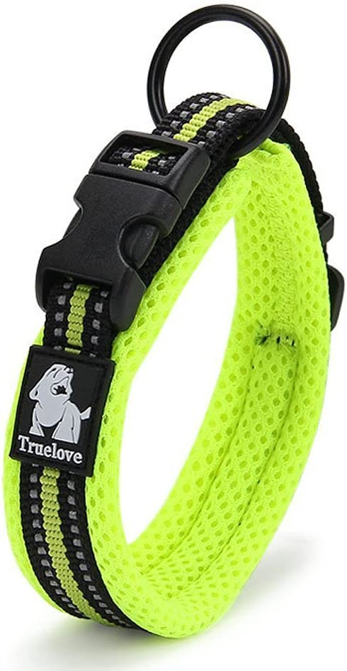 , Green S Green ZEEY Durable Padded Soft Breathable Mesh Night Safety Dog Collar with 3M Night Reflective Stripes Comfy Adjustable Collar for Small//Medium//Large Dogs 35-40cm
