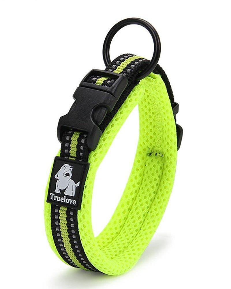 PENTAQ Collar de perro de malla de nylon resistente suave transpirable con la raya reflexiva de la seguridad de la noche, có modo Collar acolchado ajustable para los perros pequeñ os / medios / grandes, verde (XXS (28-30cm))