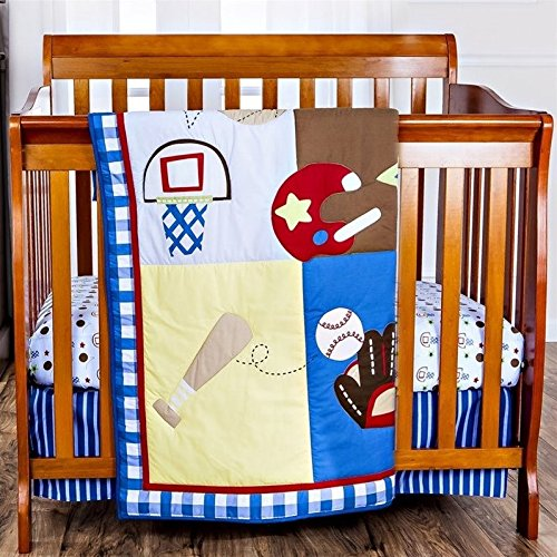 Dream On Me Little Athlete 3 Piece Crib Set, Red/Multi