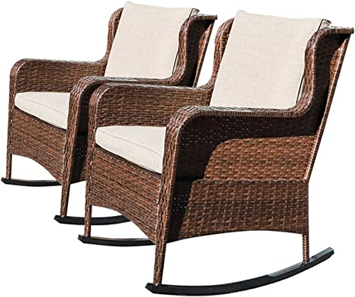 SUNSITT Outdoor Resin Wicker Rocking Chairs with Olefin Cushions, Set of 2, Patio Yard Furniture Club Rocker Chairs, Brown Wicker Beige Cushions