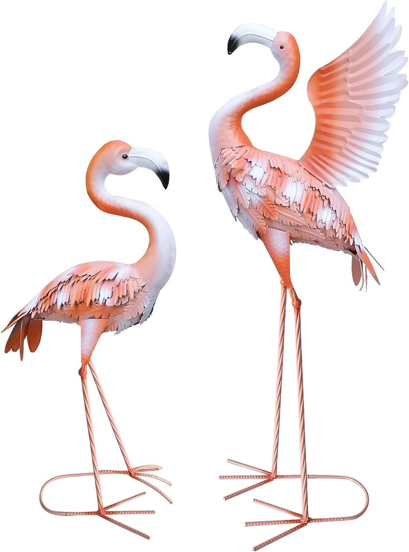 aboxoo Set of 2 Metal Flamingo Garden Statues and Sculptures, Iron Flamingo Standing Yard Art Indoor Home Statue Ornaments, Large Flamingos Sculpture for Outdoor Lawn Patio Backyard Decor