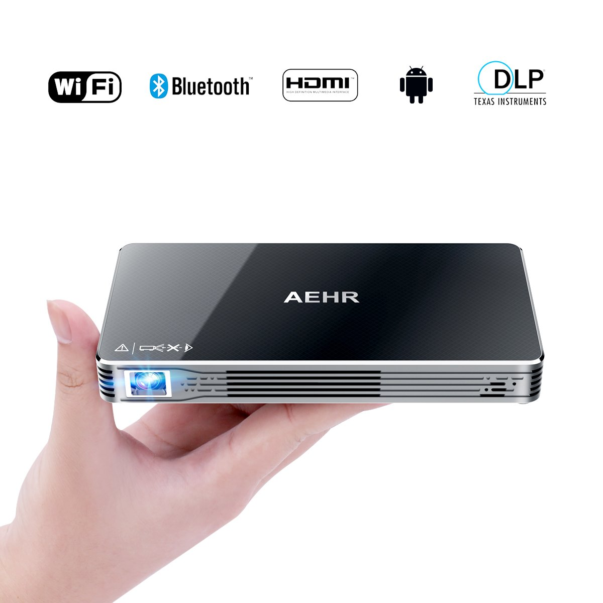 Mini Projector Portable Pico Video Projector for iPhone and Andriod phone,with 120 Inch Display,HD Home Theater Family Cinema,Support Wifi/HDMI/Bluetooth/USB/TF card/Audio Cable by AEHR