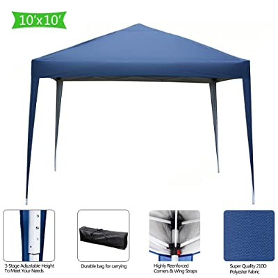 ZSQ Pop up Canopy Tent, Commercial Instant Shelter, Portable Tent Popup Beach Outdoor Canopies pop-up Canopy with Carry Bag, 10x10 FT, Blue : Garden & Outdoor