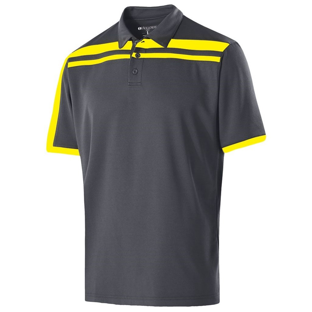 Holloway Dry-Excel Mens Charge Polo (X-Large, Carbon/Bright Yellow) by Holloway