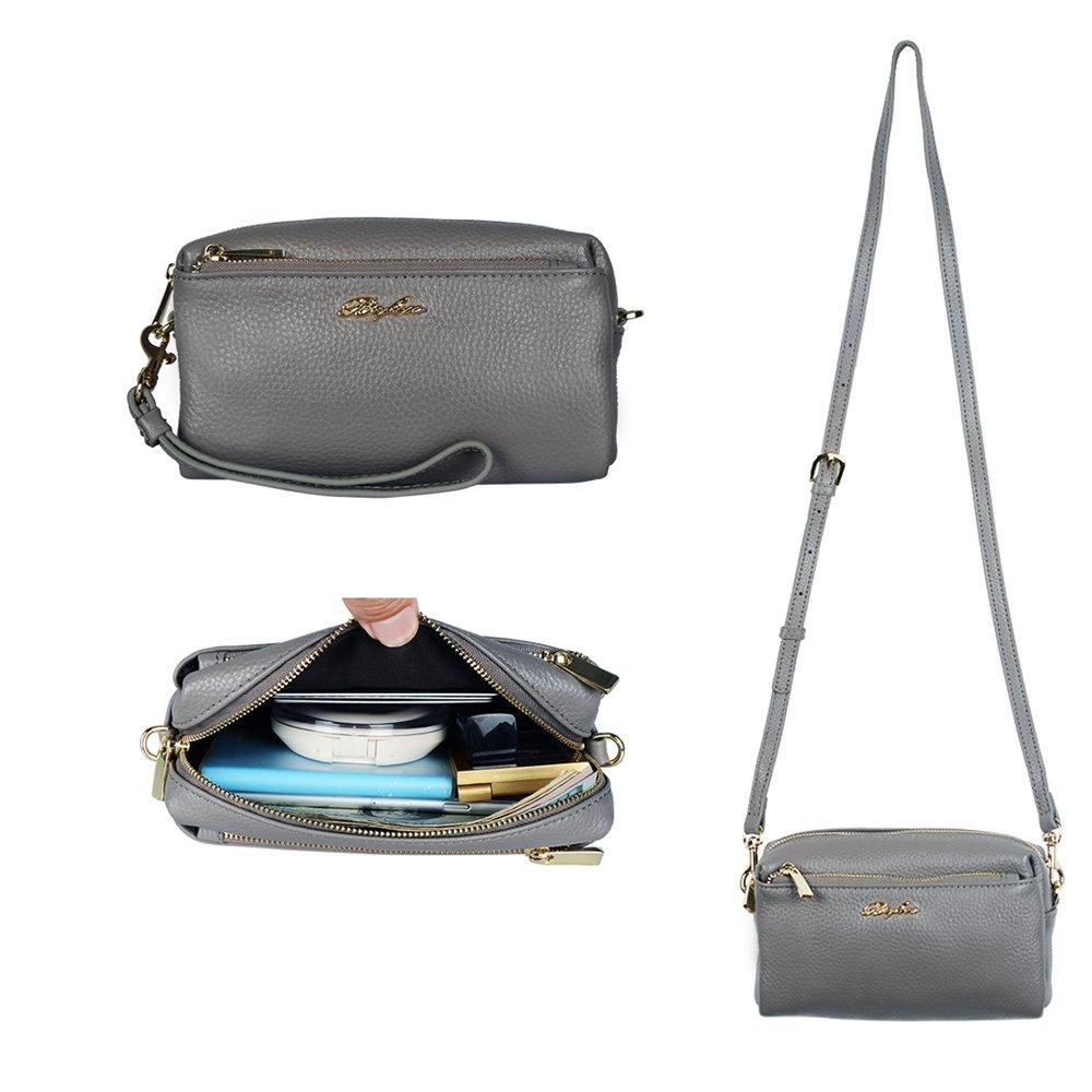 Befen Women Full Grain Leather Tripple Zip Crossbody Bag Crossbody Cell Phone Purse Wallet Bag Phone Wristlet - Dark Gray