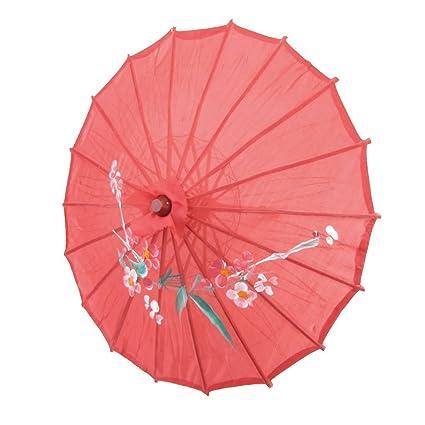 SODIAL(R) Parasol Paraguas Oriental Chino 21 pulgada Diametro bambu tela roja impresion de