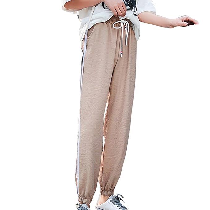 Pantalones Largo para Mujer, Moda Cintura Media Pantalon a Rayas Cómodo Cintura Elástica Casual Pantalones