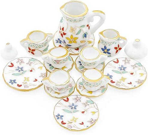 8pcs 1//12 Miniature Tea Cups w// Cups Saucers Set Dollhouse Tableware Decor Accs