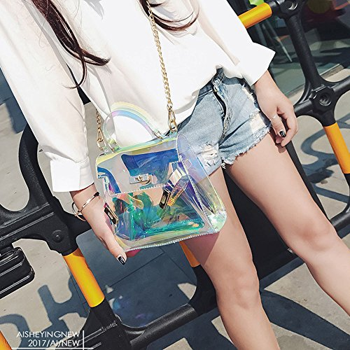 Shoulder Womens Handbag 2018 Jelly Corsion Bag Clear Messenger Tote Body Fashion Cross Laser OHw575zq