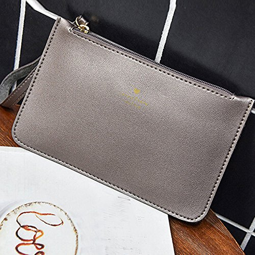 Bag wallet Phone Coin Bag Women's Handbag Fashion Gray Leather Bags Messenger GINELO qRnCHw8z