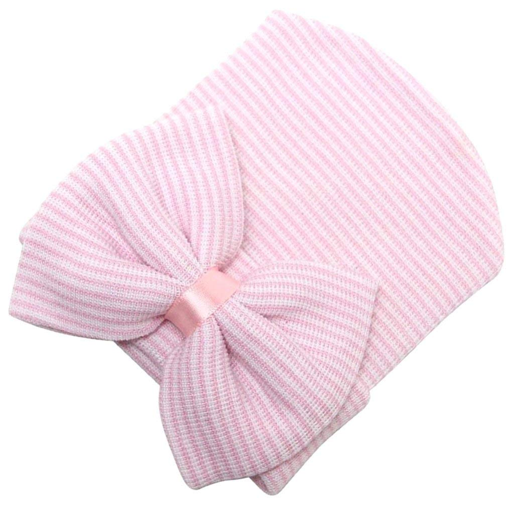 Nicedeal Newborn Girls Baby Hat Newborn Hat Bowtie with Stripes Pink Baby Tools for Entertainment