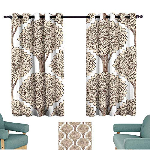 Mannwarehouse Nature Simple Curtain Tree Pattern Continuous Symmetric with Full of Leaves Earthen Toned Graphic for Living, Dining, Bedroom (Pair) 72