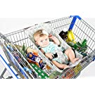 Binxy Baby Shopping Cart Hammock (Gray and Aqua Quatrefoil)